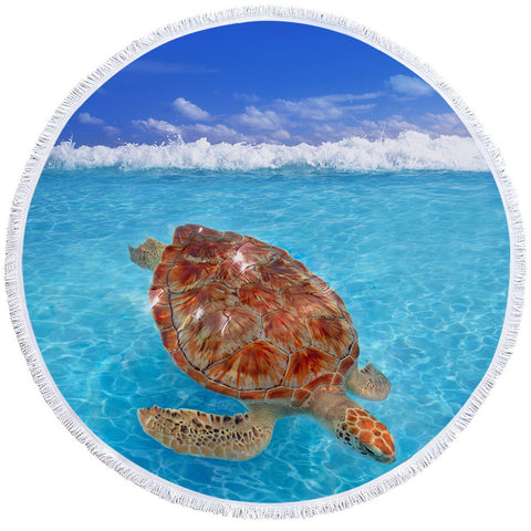 Turtle Tranquility Round Beach Towel