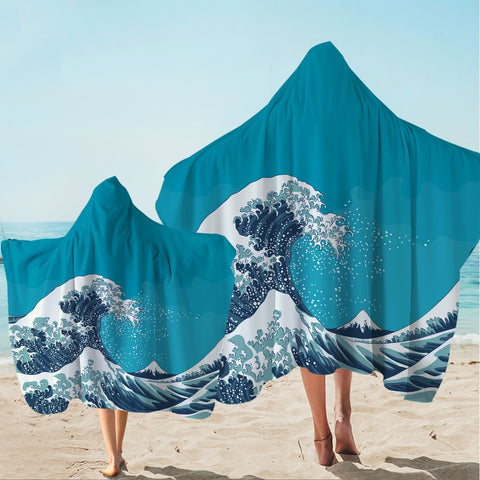 The Great Wave Hooded Towel-Australian Coastal Passion