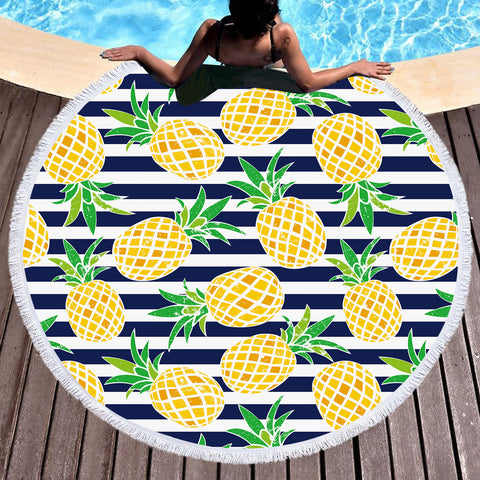 Coastal Round Beach Towel-Nautical Pineapple Round Beach Towel-Coastal Passion