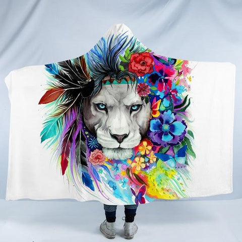 Lazy Lion Vibes Cozy Hooded Blanket-Fleece Hooded Blanket-Australian Coastal Passion