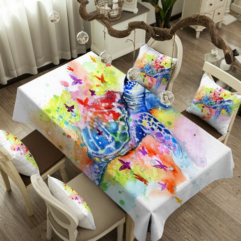 Sea Turtle Splash Tablecloth-Australian Coastal Passion