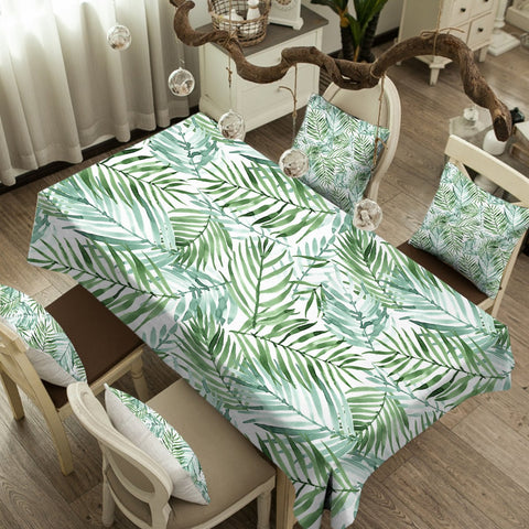 Coastal Tablecloth-Tropical Palm Leaves Tablecloth-Coastal Passion