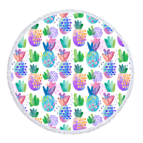 Pineapple Passion Round Beach Towel