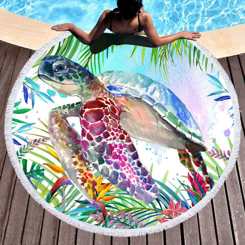 Tropical Sea Turtle Round Beach Towel-Round Beach Towel-Australian Coastal Passion