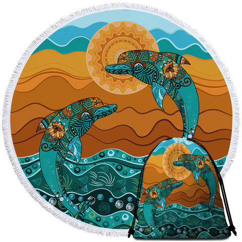 Coastal Round Beach Towel-Double Dolphin Dreaming Towel + Backpack-Coastal Passion