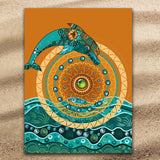Coastal Beach Towel-Dolphin Mandala Jumbo Beach Towel-Coastal Passion
