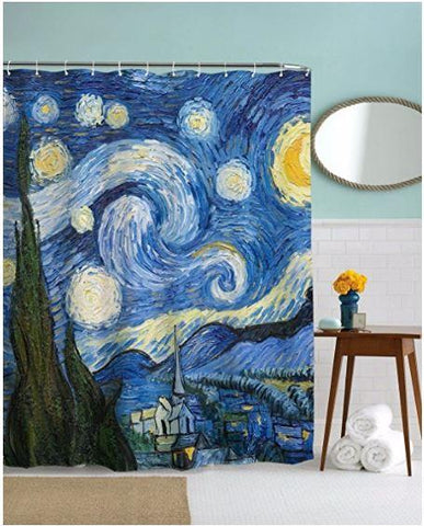 Coastal Shower Curtain-Van Gogh's Starry Night Shower Curtain-Coastal Passion