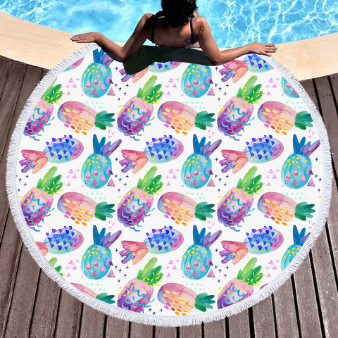 Coastal Round Beach Towel-Pina Colorada Round Beach Towel-Coastal Passion
