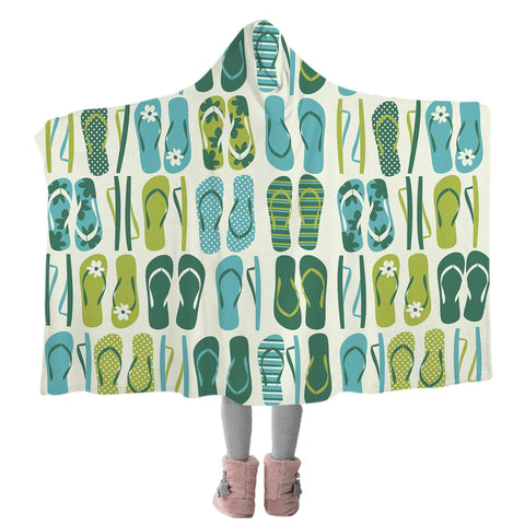 Flip Flop Frenzy Cozy Hooded Blanket-Coastal Passion