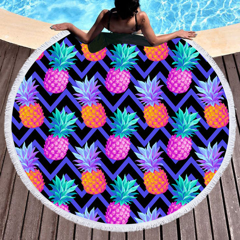 Eclectic Pineapple Round Beach Towel