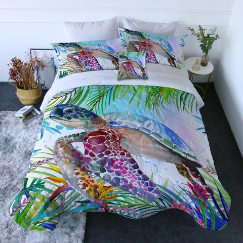 Coastal Doona Quilt Cover Set-Tropical Sea Turtle Quilt Set-Coastal Passion