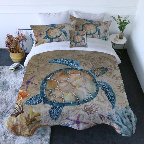 Coastal Doona Quilt Cover Set-Turtle Island Quilt Set-Coastal Passion