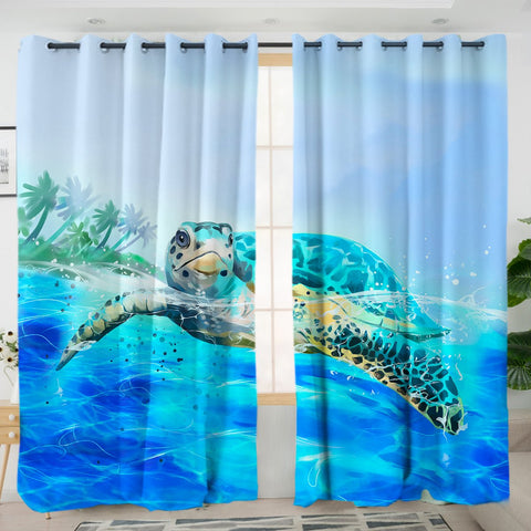 Sea Turtle Life Curtains-Australian Coastal Passion