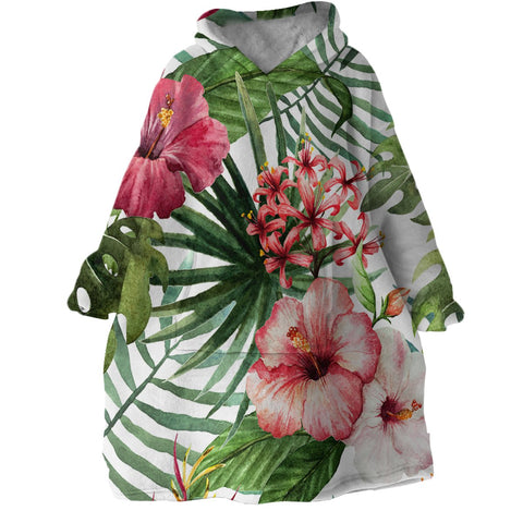 Tropical Hibiscus Wearable Blanket Hoodie-Coastal Passion