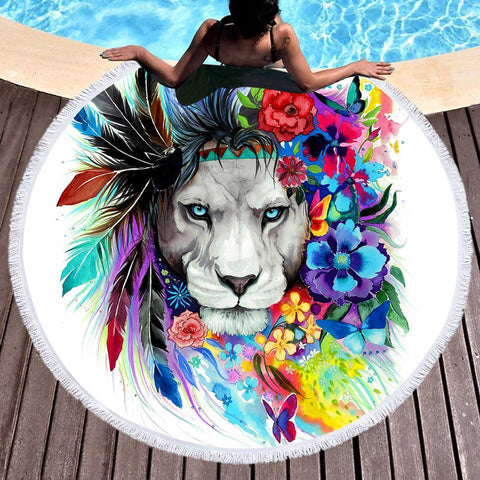 The Original Lion Vibes Round Beach Towel-Round Beach Towel-Adult: 150 cm diameter-Australian Coastal Passion
