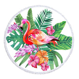 Tropical Flamingo Round Beach Towel-Round Beach Towel-Adult: 150 cm diameter-Australian Coastal Passion