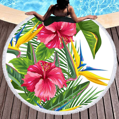 Tropical Weekend Round Beach Towel-Round Beach Towel-Australian Coastal Passion