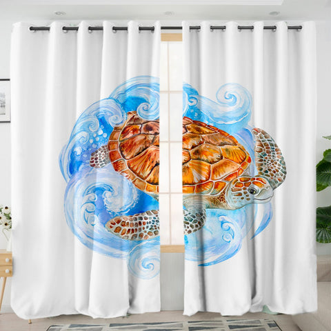 Sea Turtle Waves Curtains-Australian Coastal Passion