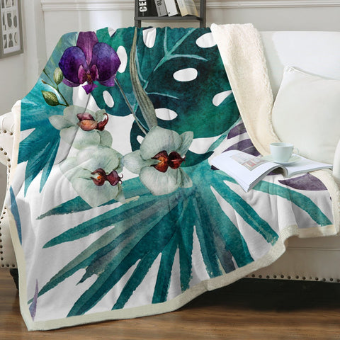 Tropical Orchids Soft Sherpa Blanket-Coastal Passion