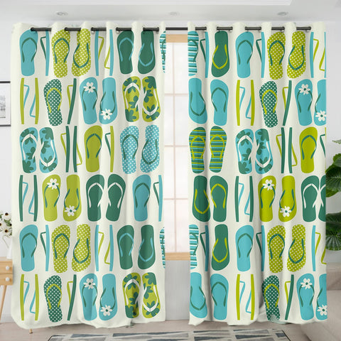 Flip Flop Frenzy Curtains-Australian Coastal Passion