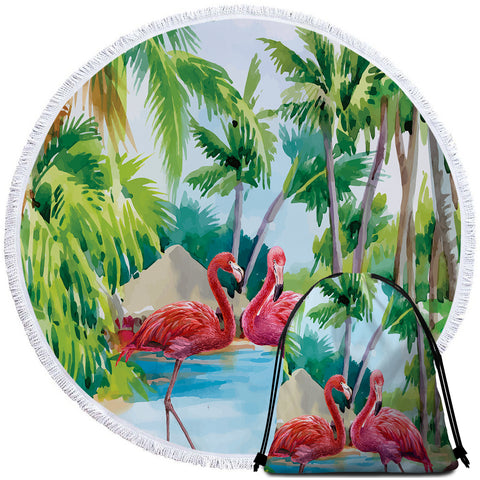 Coastal Round Beach Towel-Pinkies in Paradise Towel + Backpack-Coastal Passion