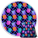 Coastal Round Beach Towel-Eclectic Pineapple Towel + Backpack-Coastal Passion