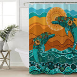 Coastal Shower Curtain-Double Dolphin Dreaming Shower Curtain-Coastal Passion