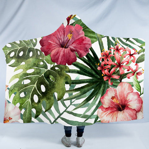 Tropical Hibiscus Cozy Hooded Blanket-Fleece Hooded Blanket-Australian Coastal Passion