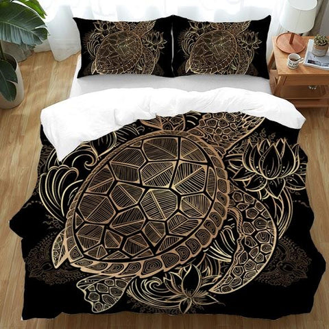 The Original Golden Lotus Turtle Doona Cover Set-Doona Quilt Cover Set-Australian Coastal Passion