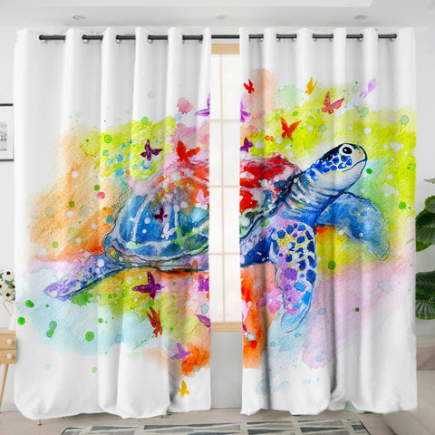 Sea Turtle Splash Curtains-Australian Coastal Passion
