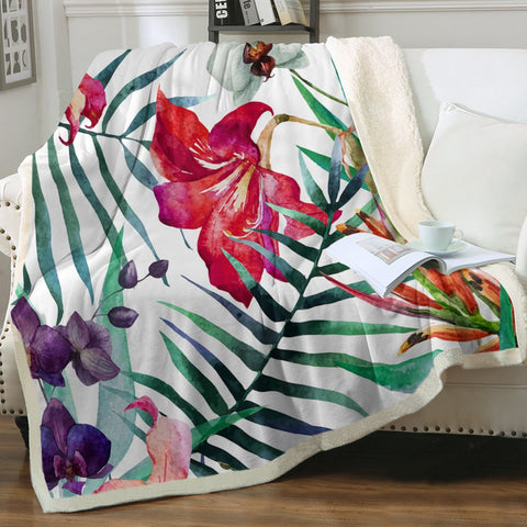Tropical Floral Soft Sherpa Blanket