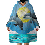 Dolphin Dancing Wearable Blanket Hoodie-Coastal Passion