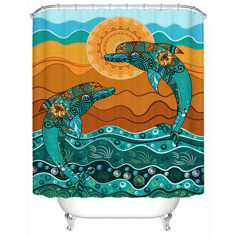 Double Dolphin Dreaming Shower Curtain