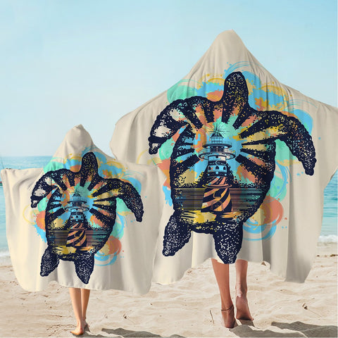 Sea Turtle Lighthouse Hooded Towel