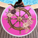 Flowery Helm Fun Beach Towel-Round Beach Towel-Adult: 150 cm diameter-Australian Coastal Passion