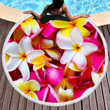 Coastal Round Beach Towel-Frangipani Passion Round Beach Towel-Coastal Passion