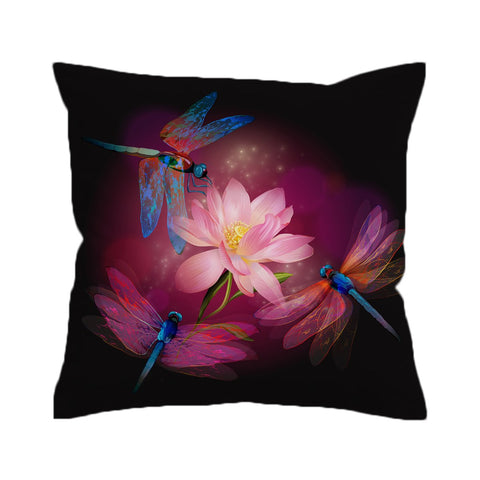 Dragonflies and Lotus Cushion Cover