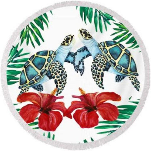 Coastal Round Beach Towel-Sea Turtle Love Round Beach Towel-Coastal Passion