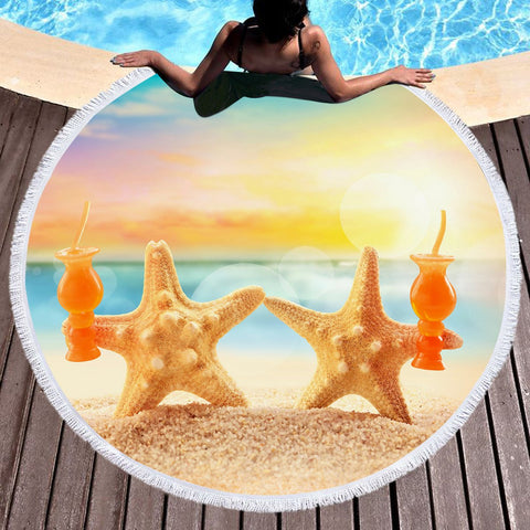 Starfish Friday Round Beach Towel-Round Beach Towel-Australian Coastal Passion