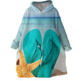 Flip Flops on the Beach Wearable Blanket Hoodie-Coastal Passion