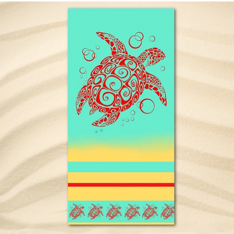 Coastal Beach Towel-Sea Turtle Cabana Extra-Large Beach Towel-Coastal Passion