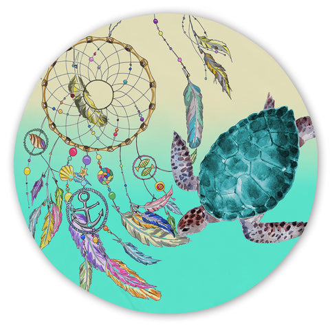 Coastal Sand Free Beach Towel-The Dreamcatcher and Sea Turtle Round Sand-Free Towel-Coastal Passion