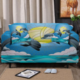 Coastal Sofa Slipcover-Dolphin Dancing Couch Cover-Coastal Passion