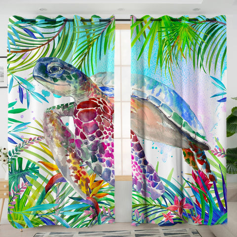 Coastal Curtain-The Original Tropical Sea Turtle Curtains-Coastal Passion