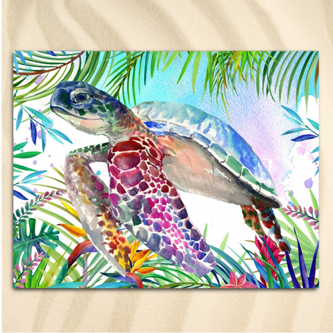 Coastal Beach Towel-The Original Tropical Sea Turtle Jumbo Beach Towel-Coastal Passion