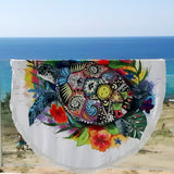 Coastal Round Beach Towel-The Original Turtle Mystic Fun Beach Towel-Coastal Passion
