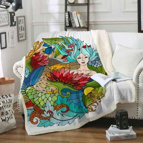 The Happy Mermaid Soft Sherpa Blanket-Fleece Sherpa Blanket-Australian Coastal Passion
