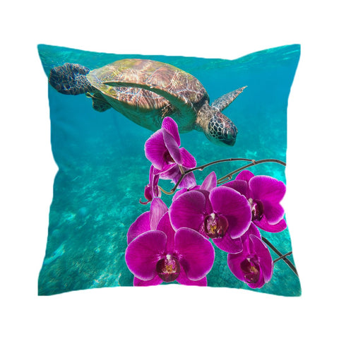 Sea Turtle and Orchids Cushion Cover