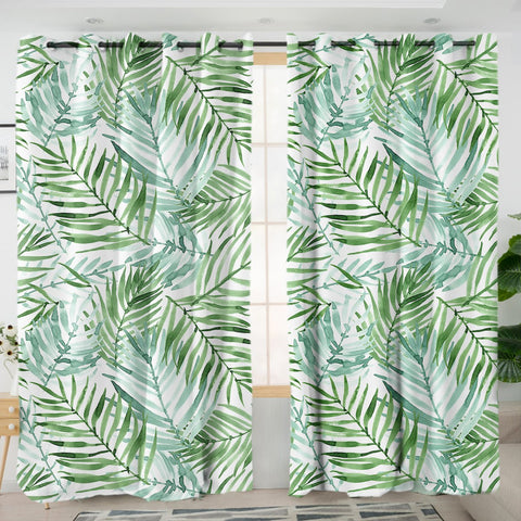 Coastal Curtain-Tropical Palm Leaves Curtains-Coastal Passion