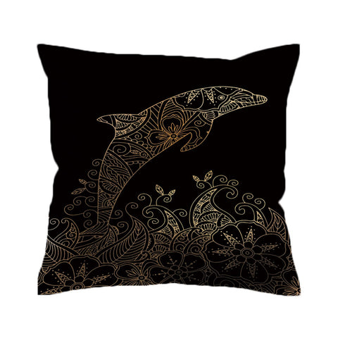 The Golden Dolphin Cushion Cover